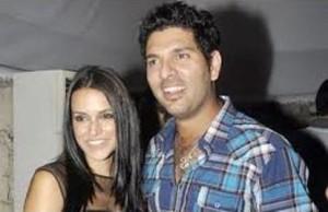 neha with yuvi at sophie bday-showbizbites