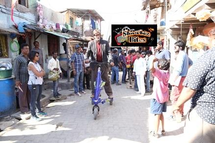 Mr Bachchan on scooter on Bhoothnath Returns sets-showbizbites